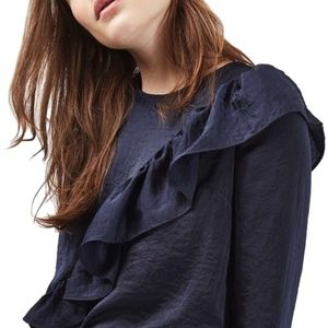 Topshop Navy Blue Satin Ruffle Blouse